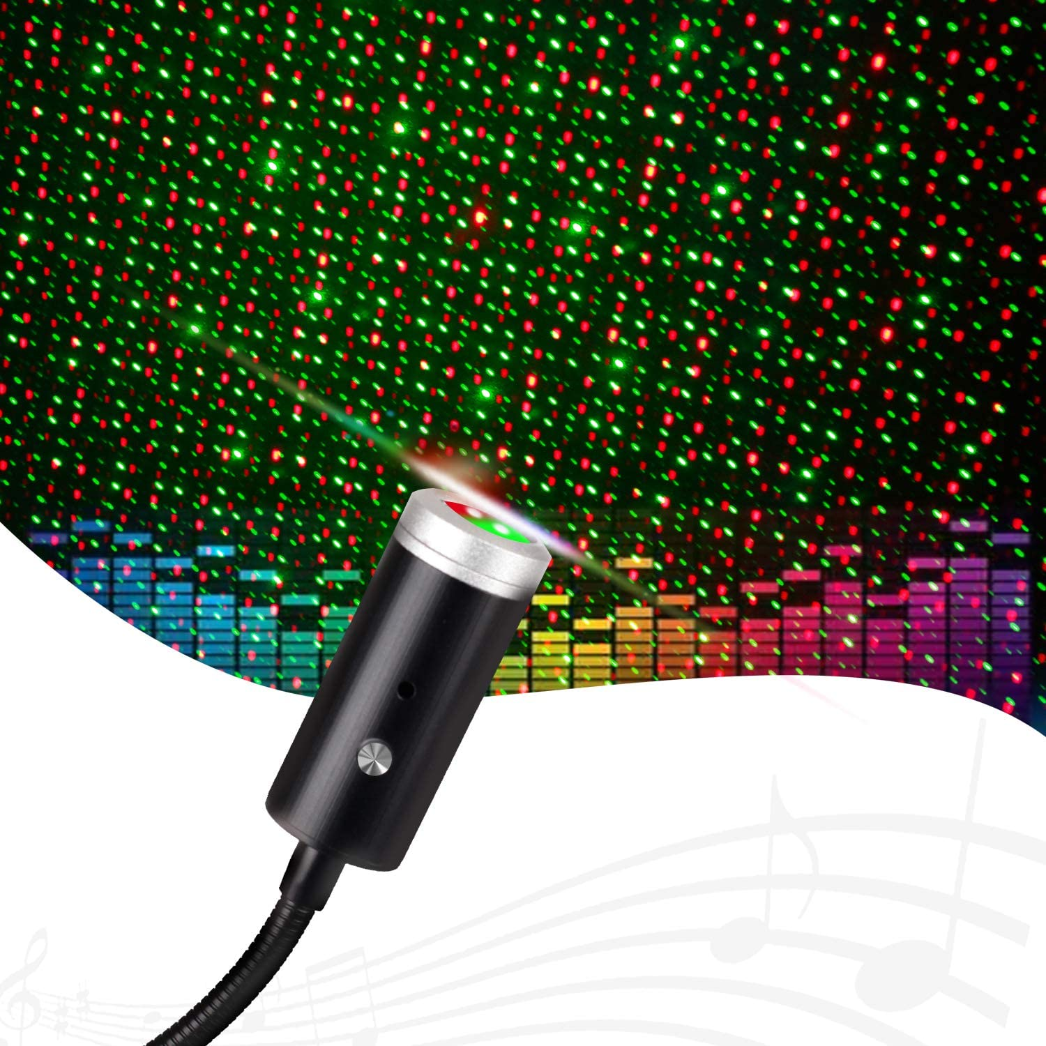 Sound Activated USB Star Light with 9 Functional Modes, 3 Colors, ReKeen Adjustable Romantic Interior Car Lights, USB Night Lights Decorations for Car, Bedroom, Ceiling, Party (Red&Green)