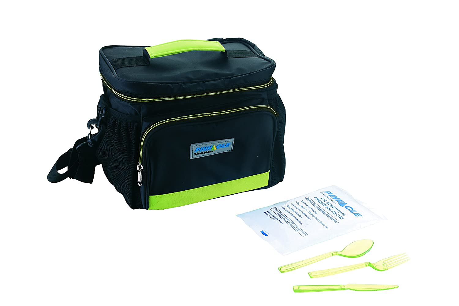 Durable Nylon, Double Zipper – Black & Green Lunch Bag Kit