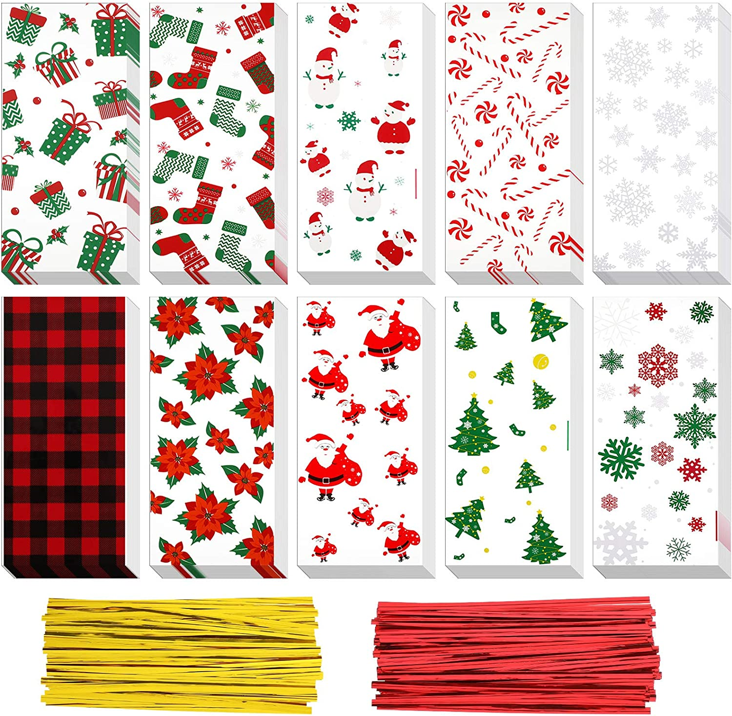 150 Pieces Christmas Cello Bag Cellophane Treat Bag Snowflake Snowman Christmas Tree Santa Christmas Themed Candy Party Bag 10 Styles with 200 Pieces Twist Ties for Party Supplies
