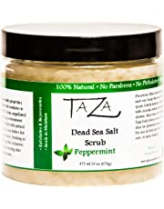 Premium Taza Peppermint Dead Sea Salt Scrub, 473 ml 24 oz (670 g) ♦ Exfoliates Your Skin Leaving it Soft and Hydrated ♦ Contains: Coconut Oil, Shea Butter, Grapeseed Oil, Sweet Almond Oil, 26 Minerals
