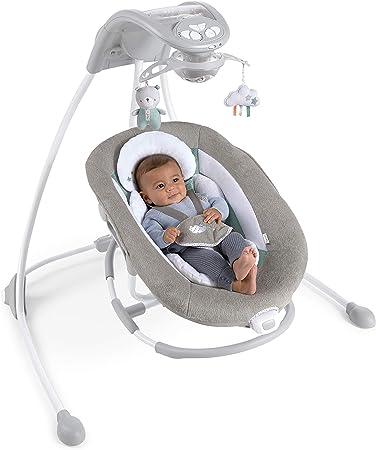 Ingenuity Pemberton - Columpio y balancín portátil para bebé 2 en 1 con luces, vibraciones, melodías, control de volumen multicolor