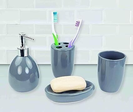 Deluxe Ceramic Bathroom Vanity Accessory Set, Soap Dispenser Pump, Toothbrush  Holder, Tumbler,