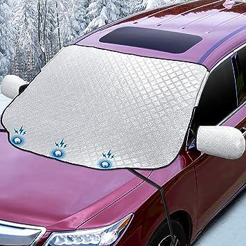 Amazon.es: Sunbick SC001X Cubierta de nieve para parabrisas del coche, nieve/hielo/UV/polvo magnéticos, 147 x 120 cm, plata