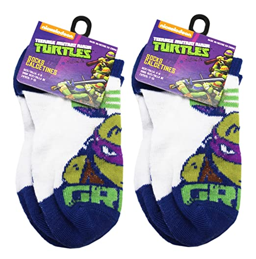 Teenage Mutant Ninja Turtles Donatello Blue/White Socks (2 Pairs, Size 4-