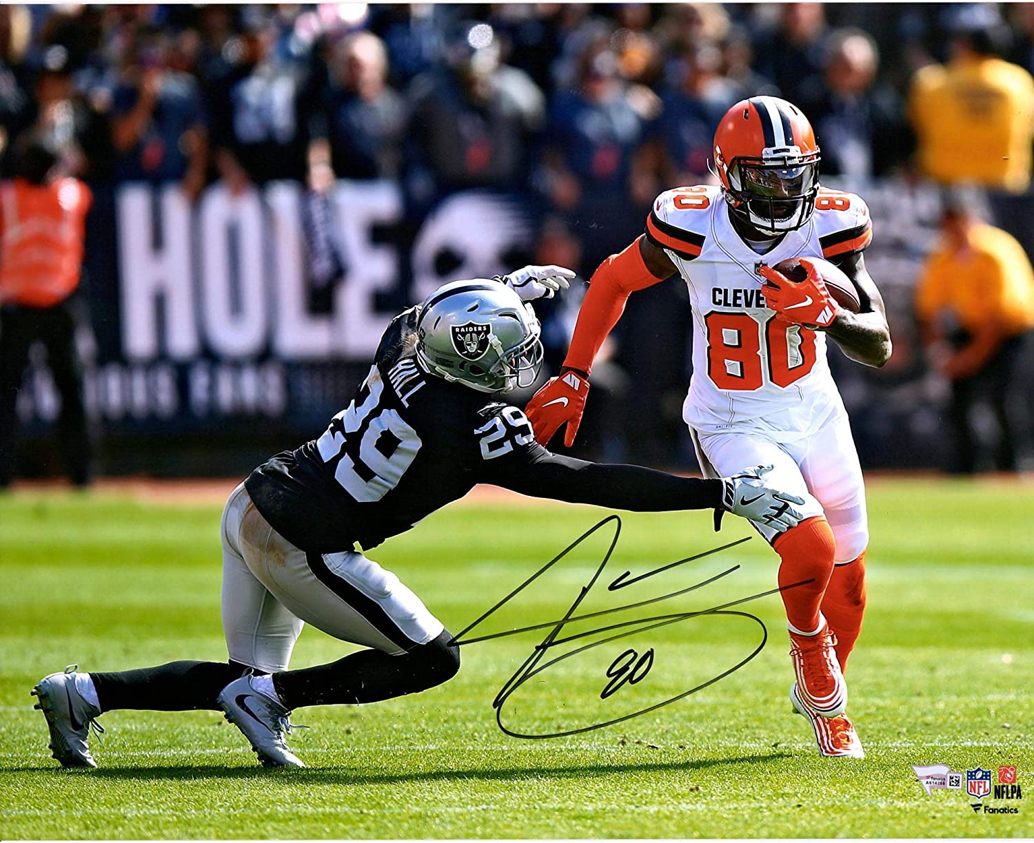 Jarvis Landry Cleveland Browns Signed Autograph Embroidered Logo Football JSA Witnessed Certified