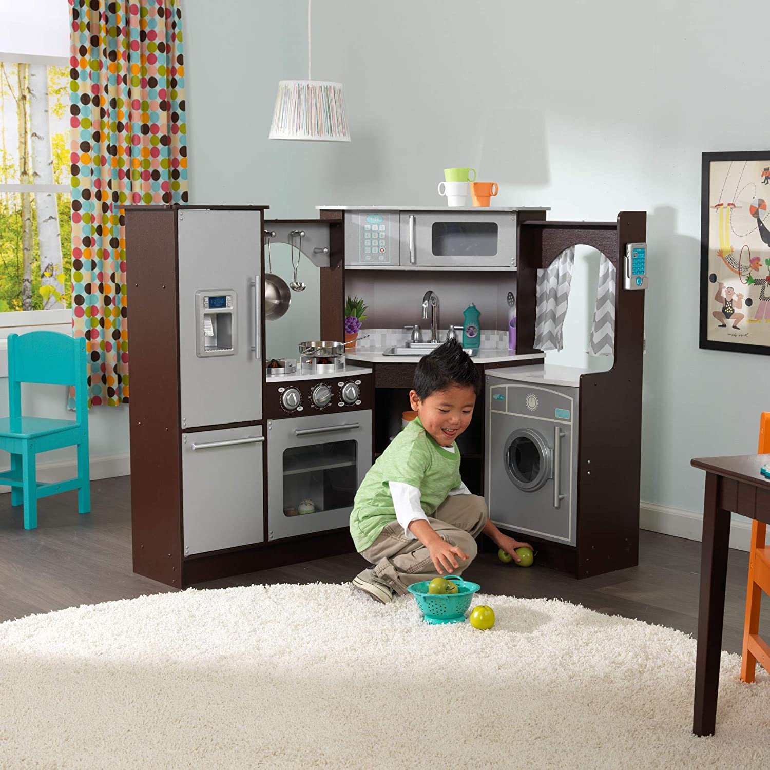 Amazon Com Kidkraft Ultimate Corner Play Kitchen With Lights Sounds Espresso 53365 Toys Games
