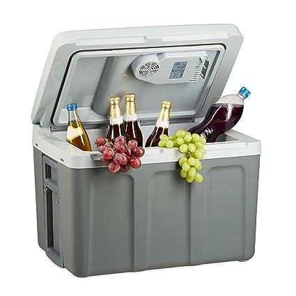 Relaxdays Kühlbox elektrisch zum Ziehen, Warmhaltebox groß 40 l, Kühltasche für Auto und Steckdose A++, 12v 230v, 40 cm hoch,