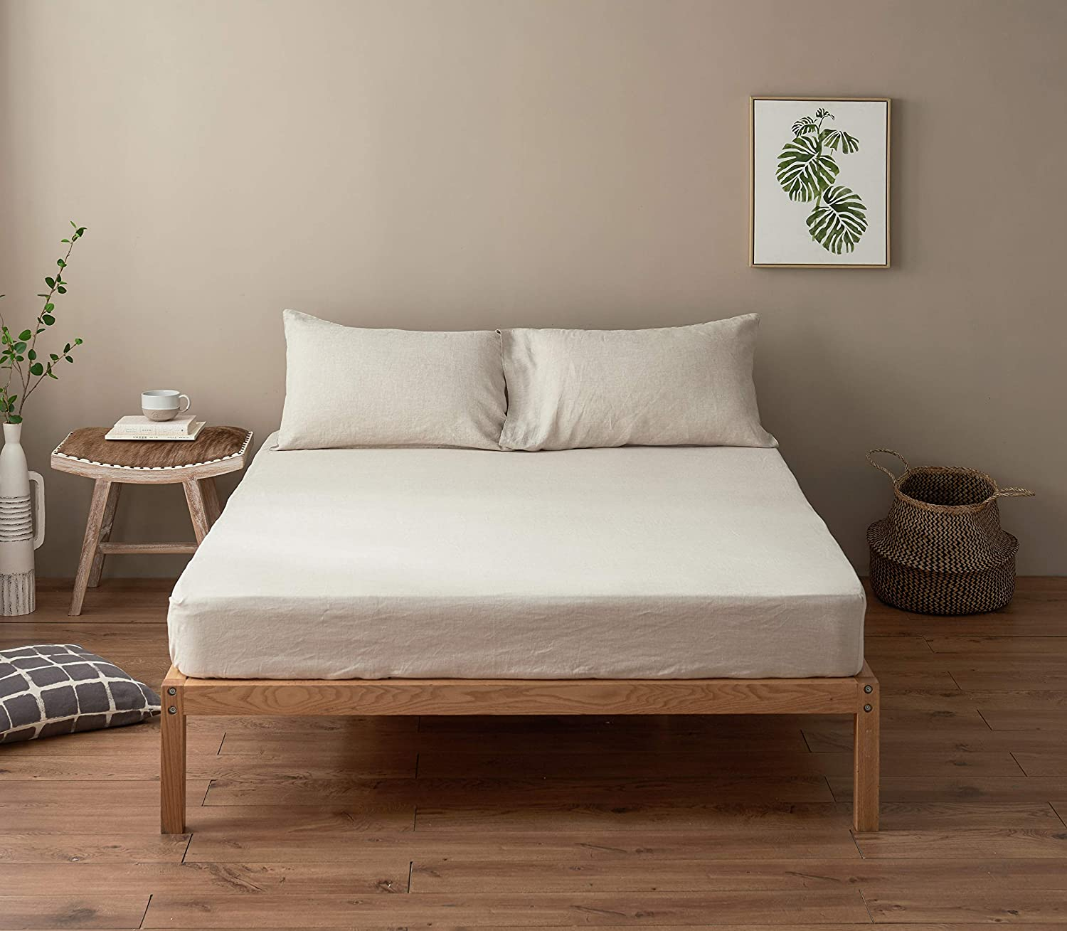 Natural Linen, Twin DAPU Pure Stone Washed Linen Fitted Sheet 100/% French Natural Linen European Flax
