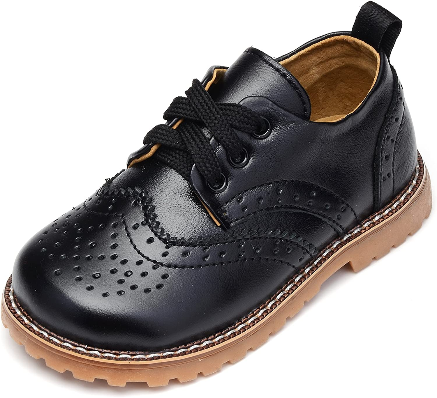 Amazon.com | UBELLA Toddler Boys Girls Breathable Hollow Leather Lace Up  Flats Oxfords Dress Shoes | Oxfords