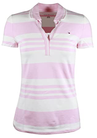 Tommy Hilfiger Damen 3 4 Arm V-Neck Polo Shirt T-Shirt rosa ... a94a292cfd