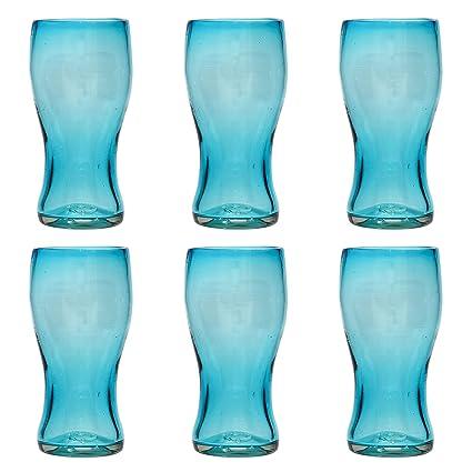 Vaso Cervecero (Pinta) Artesanal – Vidrio Reciclado – Turquesa - Juego de 6