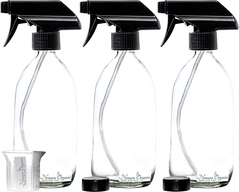 Pulverizadore Pulverizadore Nomara Organics® Pulverizadores Botellas de vidrio transparente 3 x 500 ml. Negro/ Recargable/Riego /Limpieza ...