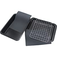 Checkered Chef Toaster Oven Pans - 5 Piece Nonstick Bakeware Set Includes Baking Trays, Rack and Silicone Baking Mats…