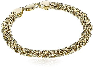 f796b00ca9056 Amazon.com: 14k Yellow Gold Byzantine Chain Bracelet, 7.5