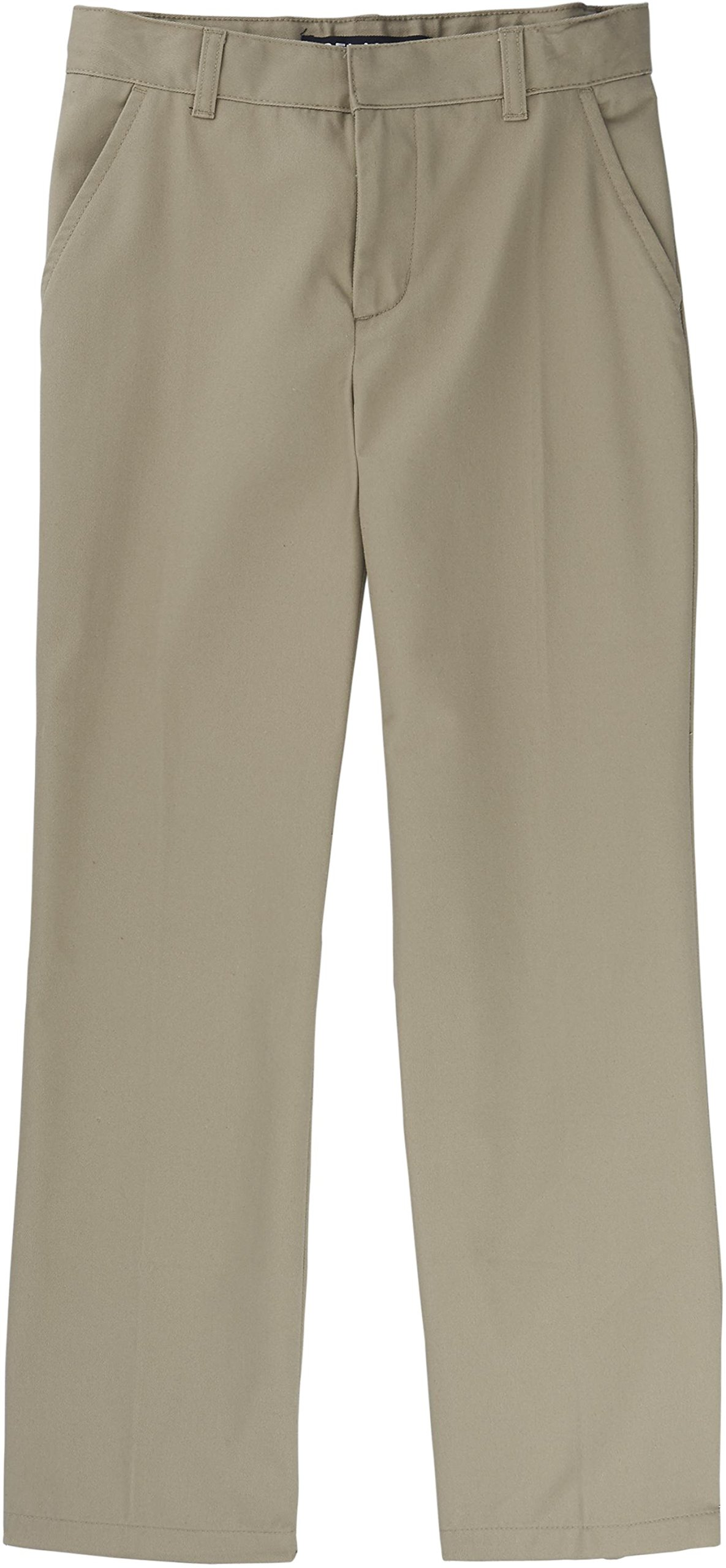 French Toast School Uniform Boys Adjustable Waist Flat Front Double Knee Pants, Khaki, 16 Husky