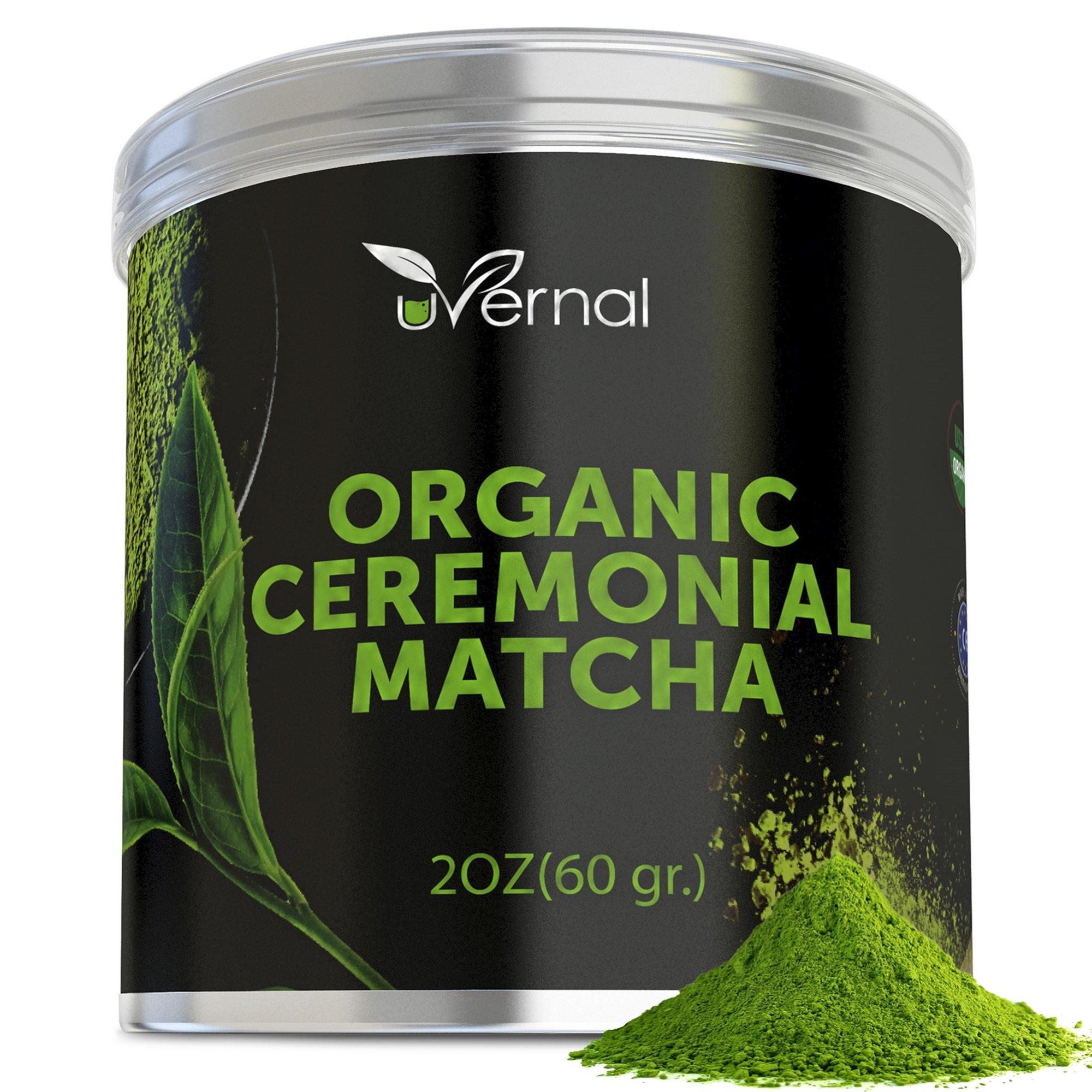 Organic Matcha Green Tea Powder - 100% Pure Matcha (No Sugar Added - Unsweetened Pure Green Tea - No Coloring Added Like Others) (CEREMONIAL)