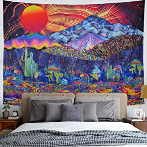 Psychedelic Tapestry Trippy Mushrooms Tapestry Colorful Mountain Landscape Tapestry Hippie Sun Tapestry Wall Hanging for Bedroom