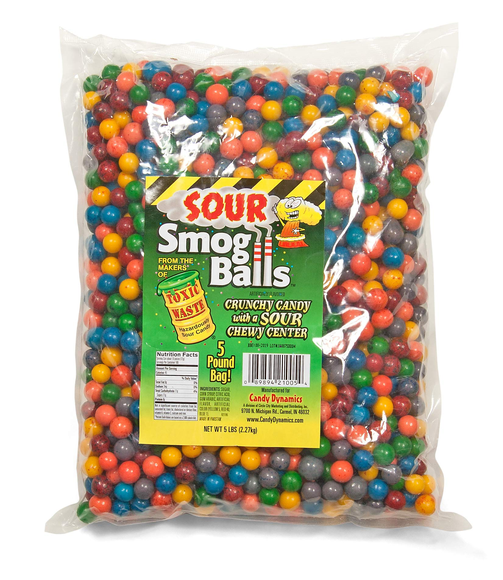 TOXIC WASTE Smog Balls Bulk Poly Bag 5 Pound of loose candy, Assorted Flavors, 5.0 Pound by TOXIC WASTE