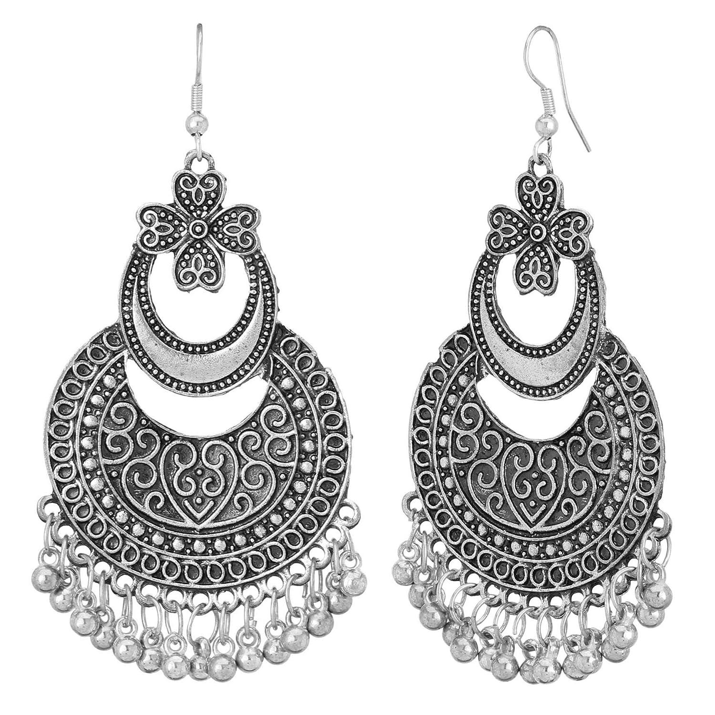 Jwellmart Afghani Bohemian Tribal Style Oxidized Drop Dangle Indian Earrings for Women and Girls