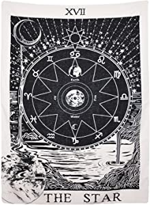 "BLEUM CADE Tarot Tapestry The Moon The Star The Sun Tapestry Medieval Europe Divination Tapestry Wall Hanging Tapestries Mysterious Wall Tapestry Home Decor (51""×59"", The Star)"