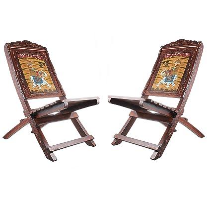 Fine Apka Mart The Online Shop Handicraft Wooden Folding Chairs 36 Inch Height Multicolour Set Of 2 Interior Design Ideas Oxytryabchikinfo