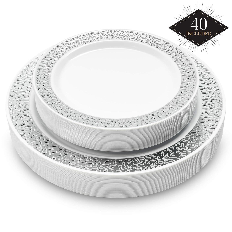 Durable /& R/éutilisables 40 /Él/égant Assiettes en Plastique Dur Jetables avec Bord en Dentelle Argent/é 20 Assiettes D/îner, 20 Assiettes Dessert Mariages F/êtes Anniversaires. Vaisselle Blanc Argent