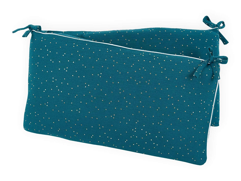 f Bettgr/ö/ße 120 x 60 cm Bett-Umrandung f/ür Baby-Bett pass Baby-Nest mit separatem Au/ßenbezug KraftKids Nestchen Musselin blau