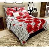Home Candy 144 TC Red Floral Cotton Double Bedsheet with 2 Pillow Covers - Red