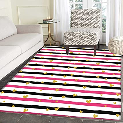Gold and White Dining Room Home Bedroom Carpet Floor Mat Romantic Teenager  Love Sign Hearts on Grunge Stripes Lines Non Slip Mat 5\'x6\' Hot Pink Black  ...