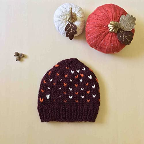 817f3f4c9da Amazon.com  Beanie Maroon Hand Knit Hat with Ivory and Orange Accents