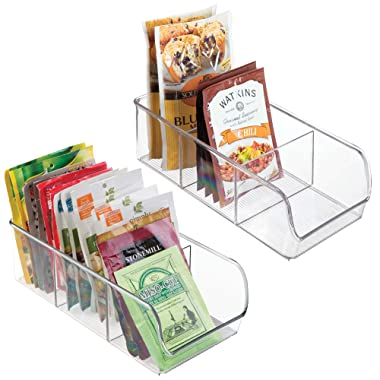 mDesign Plastic Food Packet Kitchen Storage Organizer Bin Caddy - Holds Spice Pouches, Dressing Mixes, Hot Chocolate, Tea, Sugar Packets in Pantry, Cabinets or Countertop - BPA Free - 2 Pack, Clear