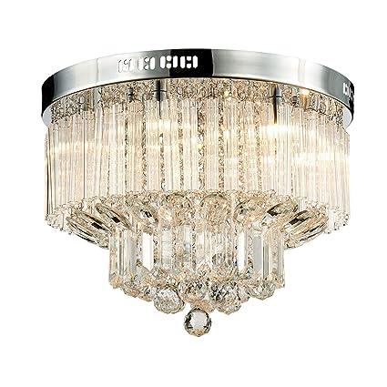 Saint Mossi Modern K9 Crystal Raindrop Chandelier Iluminación Montaje empotrado LED Lámpara de techo Lámpara colgante para comedor Baño Dormitorio ...