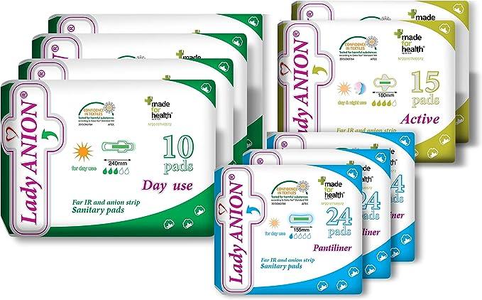 Lady Anion Compresas Sanitarias y Salvaslips, Algodón organico certificado – 3 Tipos en 1 set (en total 142 piezas) I Compresas algodon: Amazon.es: Salud y cuidado personal