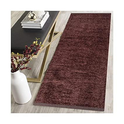 AH Furnishing Polyester Soft Indoor Modern Shag Area Rug Carpet with Feather Touch for Dining Room, Home Bedroom, 22X72 Inch (Coffee Colour)