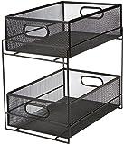 Mind Reader 2 Tier Metal Mesh Storage Baskets Organizer, Home, Office, Kitchen, Bathroom, Black