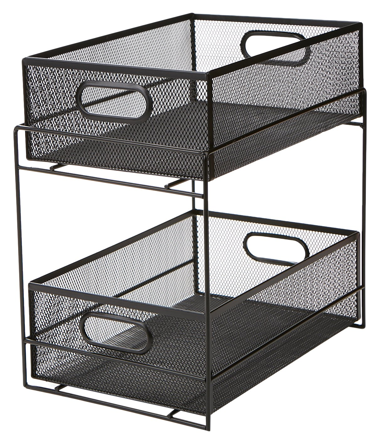 Mind Reader 2 Tier Metal Mesh Storage Baskets Organizer, Home, Office, Kitchen, Bathroom, Black