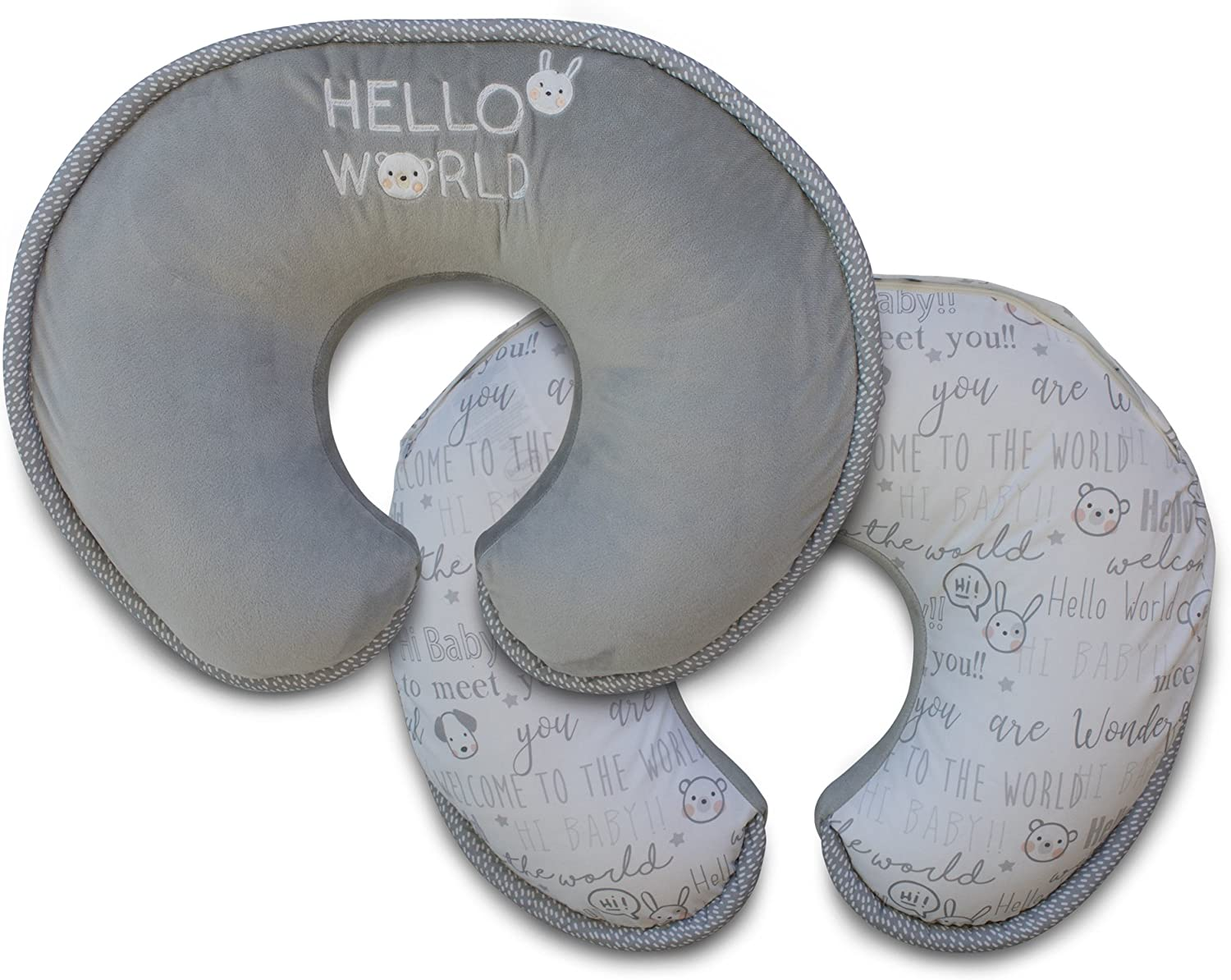 Boppy Luxe Nursing Pillow and Positioner Gray Hello World