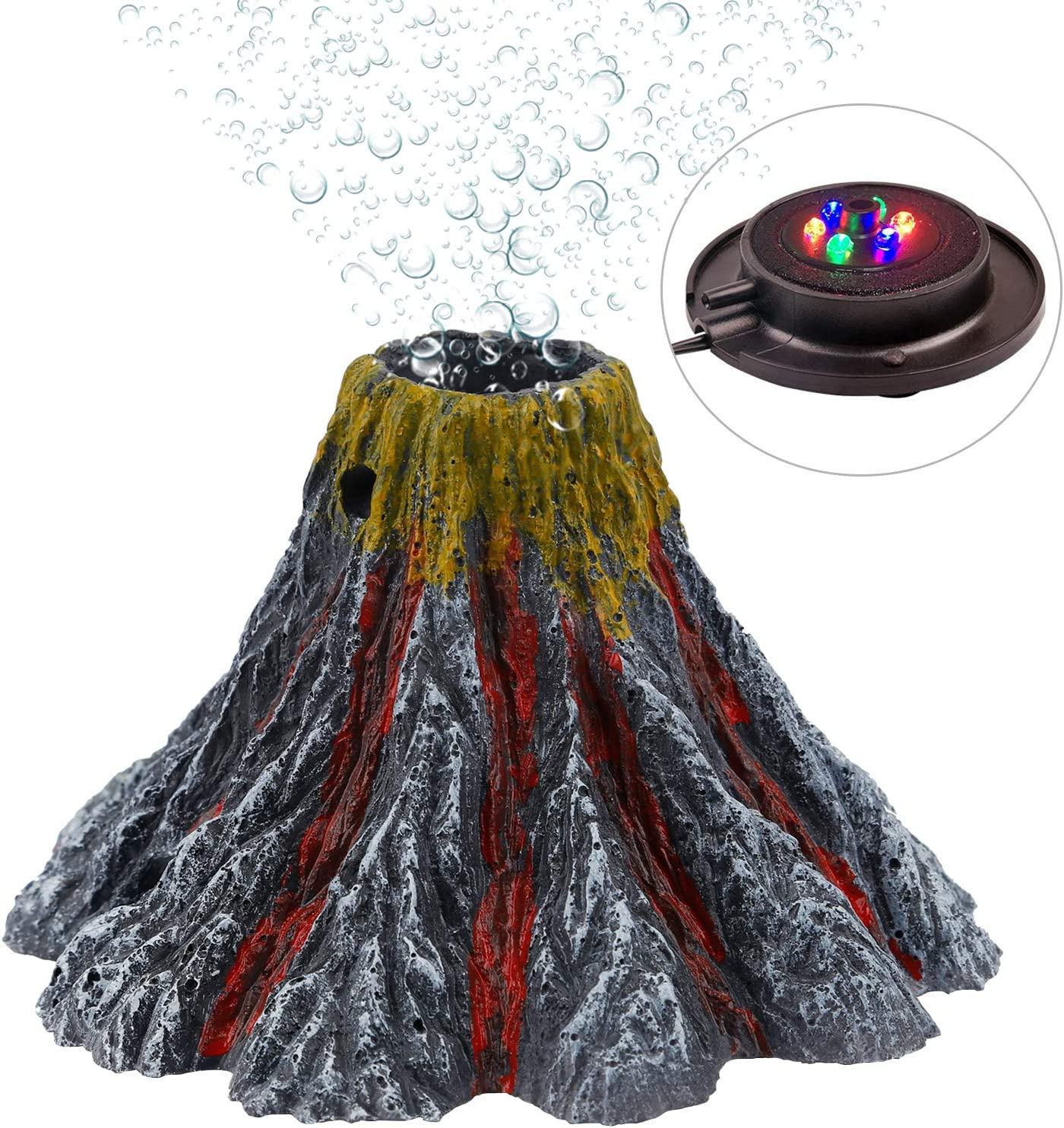 Uniclife Aquarium Decorations Volcano Ornament with LED Light Air Bubbler Stone Kit, Air Pump Not Included