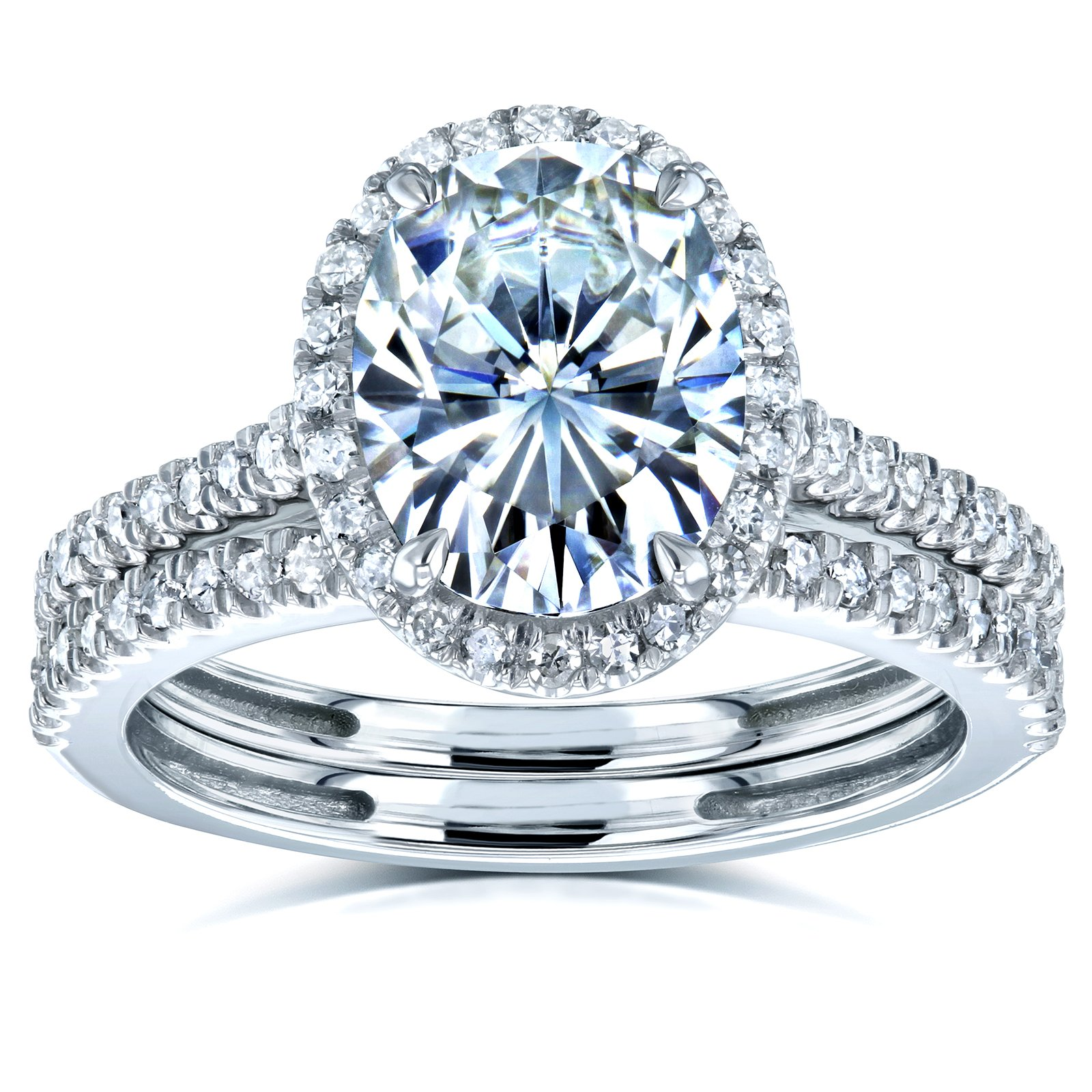 Oval Moissanite and Diamond Halo Bridal Rings Set 2 3/8 CTW 14k White Gold, 10