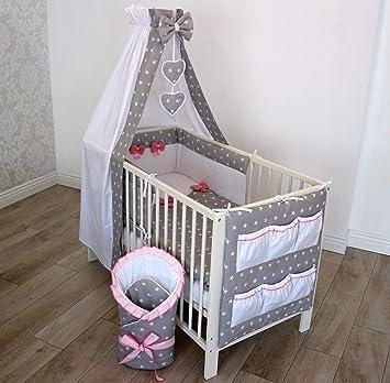 Bettwäsche mit Schleifchen für Babybett Kinderbett Bettset Komplett 3//6//12 tlg