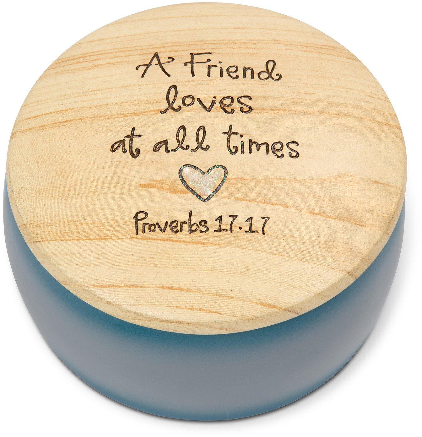 Pavilion Gift Company Heavenly Woods - A Friend Loves at All times Proverbs 17-17 Round Purple Butterfly Keepsake Jewelry Box