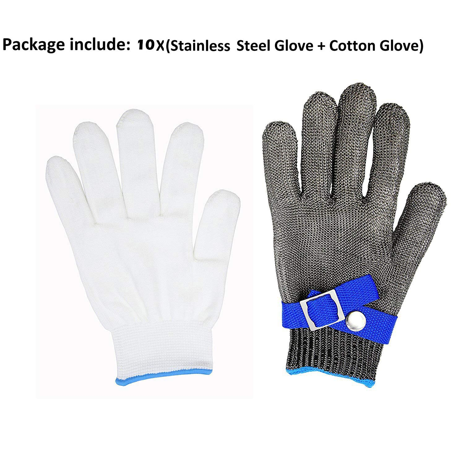 Safety Cut Proof Stab Resistant 316L Stainless Steel Wire Butcher Glove High Performance Level 5 Protection Size M by cleanpower (Image #6)