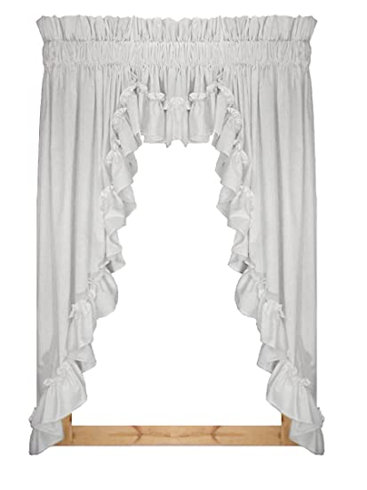 Stephanie Country Style Ruffle 3 Piece Swag Curtains Set 132 Inch By 63