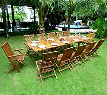 Salon de jardin en teck grande taille - table 300 cm: Amazon.fr: Jardin