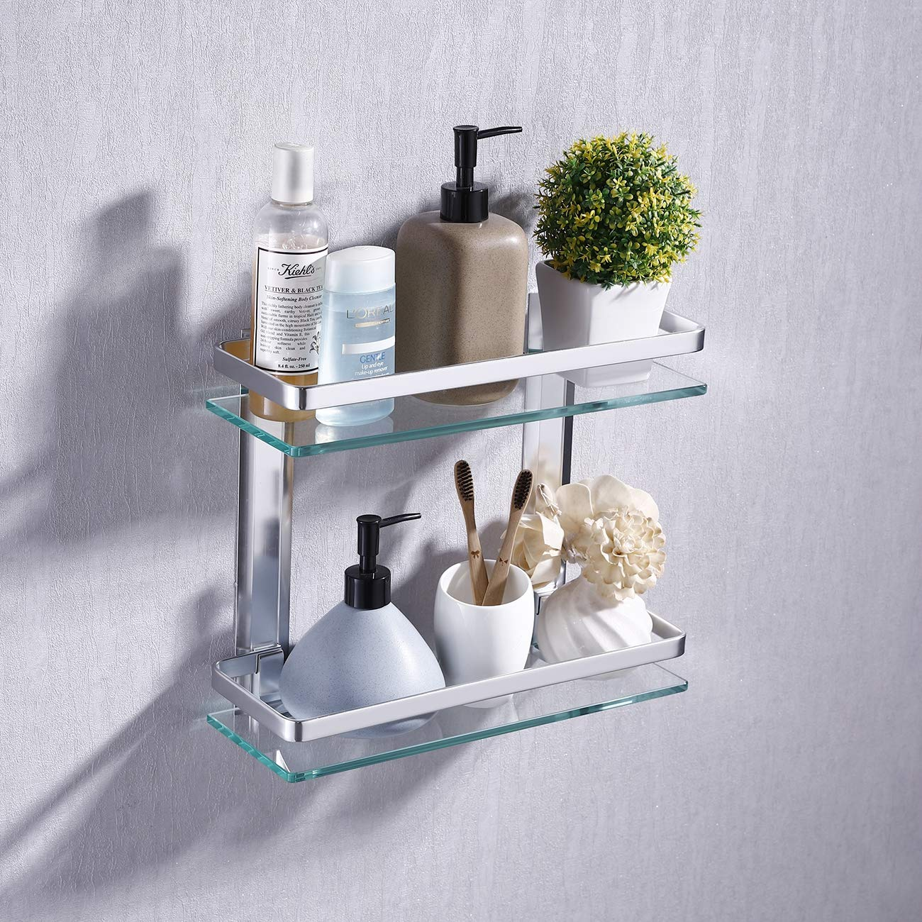 KES Aluminum Bathroom Glass Shelf 2 Tier Tempered Glass Rectangular Double Deck Extra Thick Silver Sand Sprayed Wall Mounted, A4126B by Kes