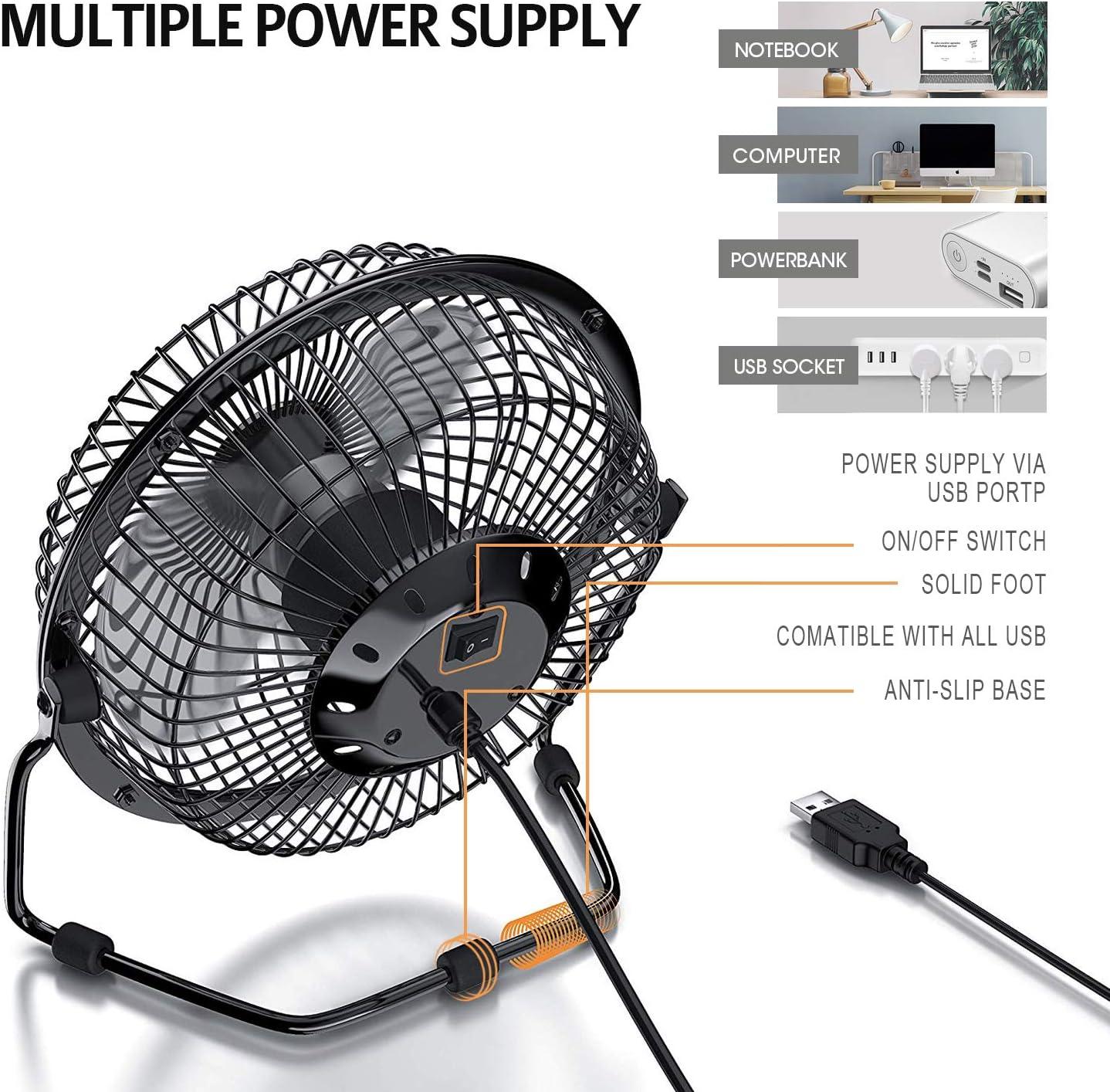 EzLife Ventilador USB, Mini Ventilador Portátil 4 Pulgadas Rotación 360º Ajustable Silencioso Ventilador de Mesa ...