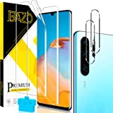 [2+2 Pack] BAZO Flexible TPU Film Screen Protector + Tempered Glass Camera Lens Protector for Huawei P30 Pro/Huawei P30 Pro N