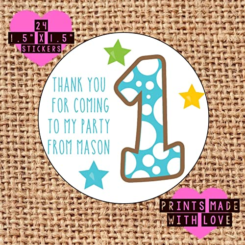 24 x personalised 1st birthday party bag sweet cone labels stickers blue 1
