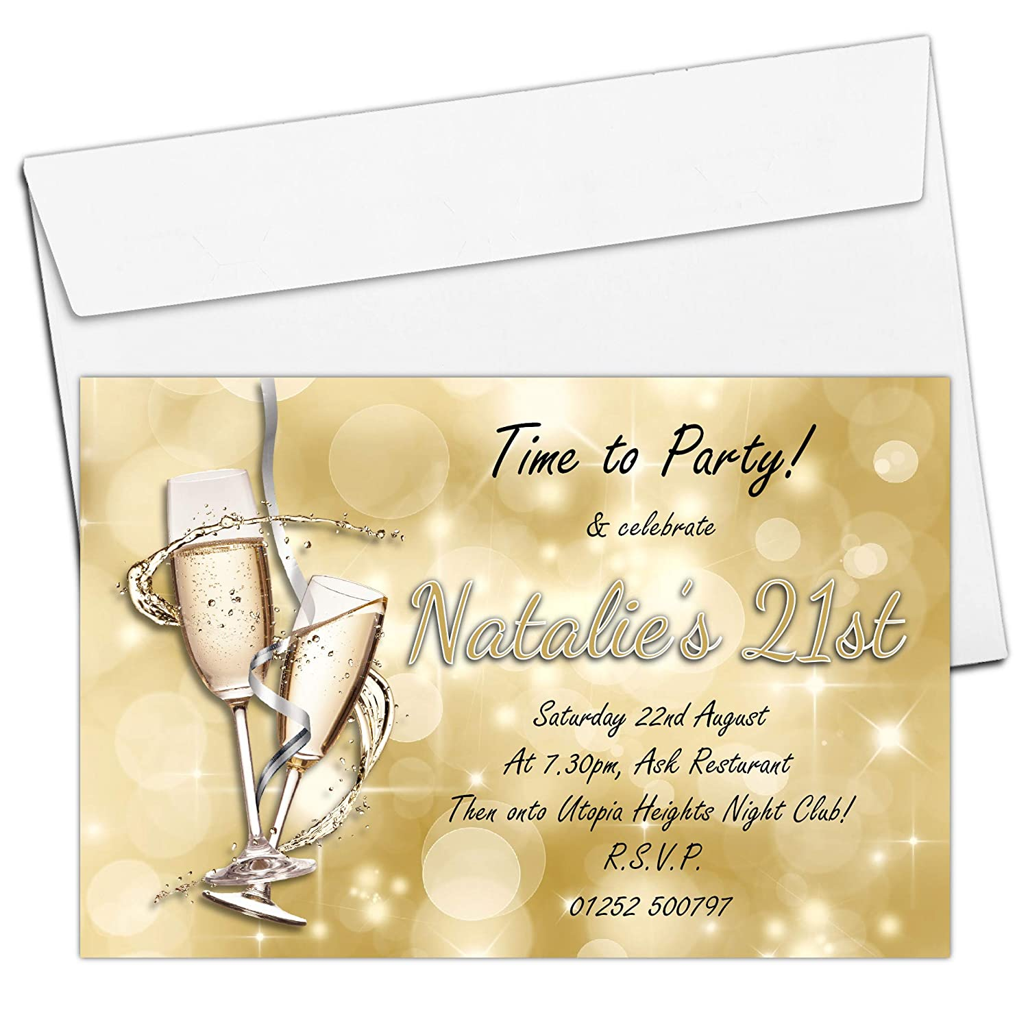 10 Personalised Gold Champagne 18th 21st 30th 40th 50th 60th Adult Birthday Party Invitations N182 - ANY AGE The Personalised Party Co.