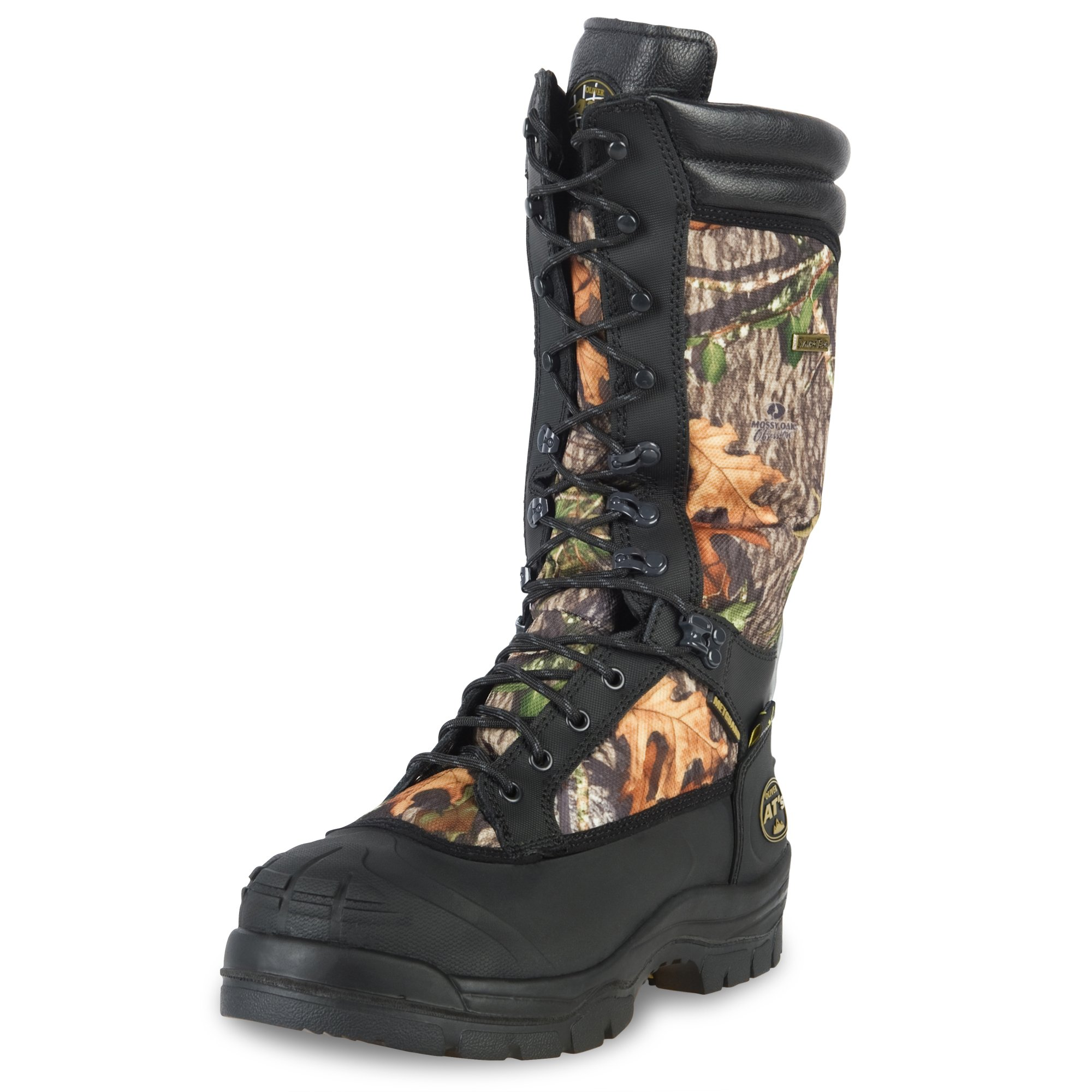 Oliver 65 Series 14'' Leather Puncture-Resistant Waterproof Steel Toe Men's Mining/Snake Boots with Metatarsal Guard, Mossy Oak (65698)